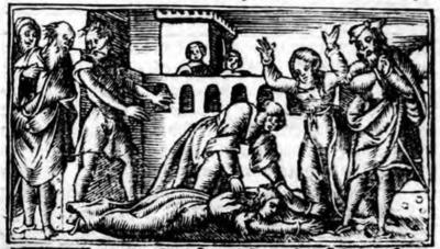 Illustration of act XXI from the Zaragoza edition (1545)
