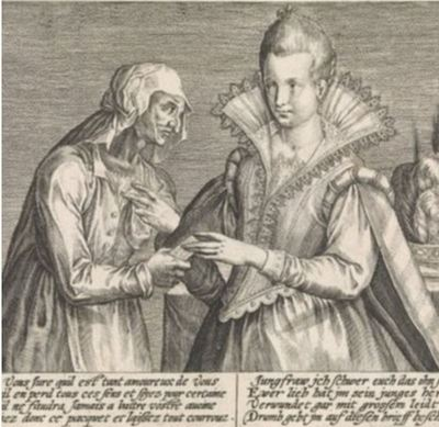 Illustration of an old woman giving a young woman a letter, by Passe (1600 c.)