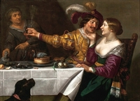 Koppelaarster; At the Procuress ([en casa de] la alcahueta), de Bijlert (c. 1625).
