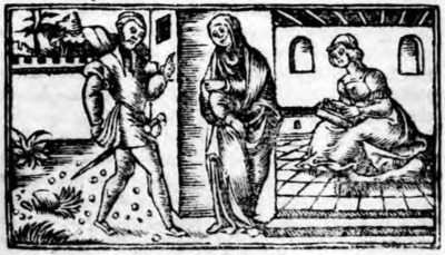 Illustration of act III from the Zaragoza edition (1545)