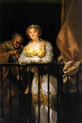 Young Woman and Celestina on the Balcony (Maja y Celestina al balcón), by Goya (1808)