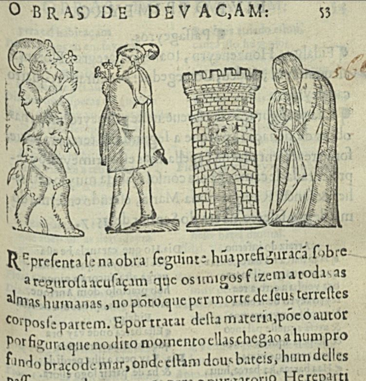 Engraving of a procuress from Auto da Barca do Inferno, by Gil Vicente (1586)
