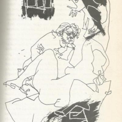 Illustration of Celestina, Pármeno and Areúsa from the Budapest edition (1979)