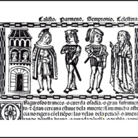 Engraving of act V from the Valencia edition (1514)