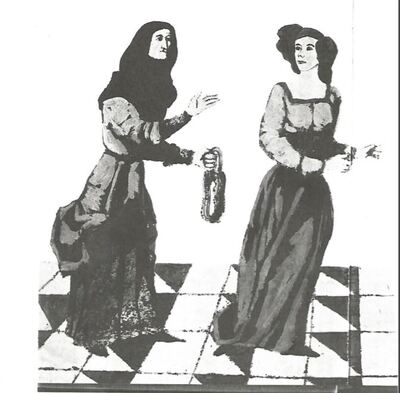 Two images of Celestina in a book about famous literary characters, by Navarro (1969)