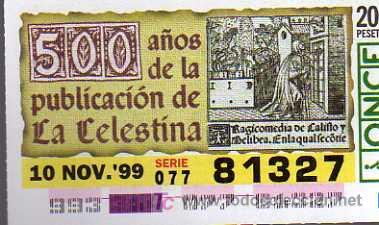 ONCE lottery ticket, 500 years of the publication of La Celestina (1999)