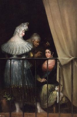 Young Women and Celestina on the Balcony (Majas y Celestina en el balcón), by Alenza y Nieto (1840 c.)