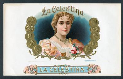 Cigar box label with lithograph of La Celestina (c. 1950)