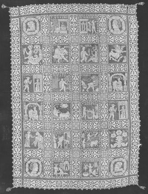 Blanket or bedspread with scene from La Celestina (1615)