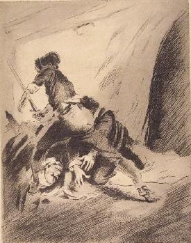 Fight between Celestina, Sempronio and Pármeno (Pelea entre Celestina, Sempronio y Pármeno), by Enríquez de Navarra (1946 c.)