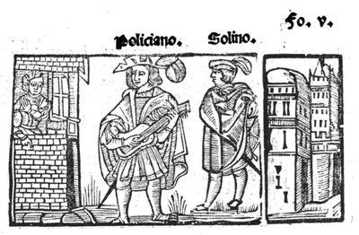 Illustration from Tragedia Policiana, by Sebastián Fernández and anonymous illustrator, 1547