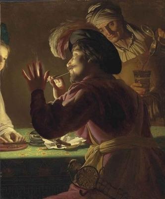 Un caballero encendiendo una pipa de una vela, una mujer mayor derramando de una cacerola y una mujer joven cortando el tabaco - un fragmento, del taller de Gerrit van Honthorst (1633 c.)