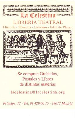 Card from La Celestina library specialized in theatre, Madrid (2000 c.)