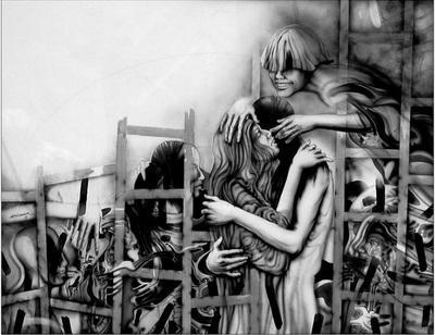 Cupid and Celestina in the chicken coop (Cupido y la Celestina en el gallinero), by Luis Debairosmoura (?) (1998)