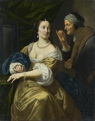 Una vieja alcahueta ofrece joyas a una joven, de Bylert (1630 c.)