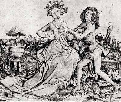Scene of lovers in a garden, by Master E. S. (1460 c.)